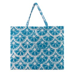 Lime Blue Star Circle Zipper Large Tote Bag by Alisyart
