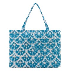 Lime Blue Star Circle Medium Tote Bag by Alisyart