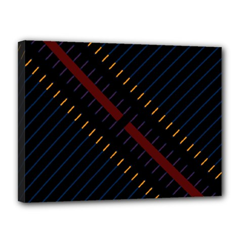 Material Design Stripes Line Red Blue Yellow Black Canvas 16  X 12  by Alisyart