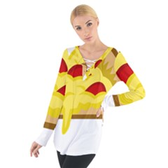 Pasta Salad Pizza Cheese Women s Tie Up Tee by Alisyart