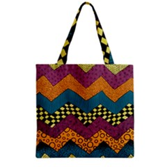 Painted Chevron Pattern Wave Rainbow Color Grocery Tote Bag by Alisyart
