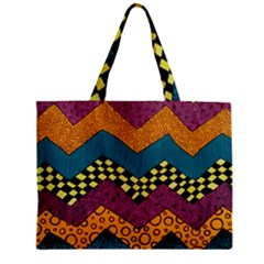 Painted Chevron Pattern Wave Rainbow Color Zipper Mini Tote Bag by Alisyart