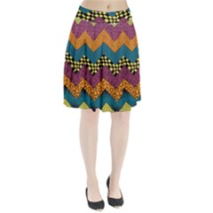 Painted Chevron Pattern Wave Rainbow Color Pleated Skirt by Alisyart