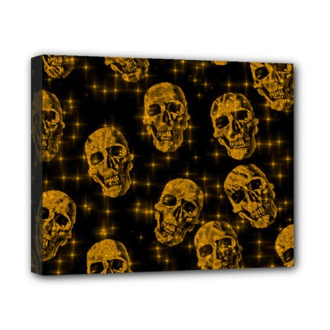 Sparkling Glitter Skulls Golden Canvas 10  X 8  by ImpressiveMoments