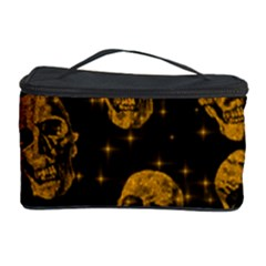 Sparkling Glitter Skulls Golden Cosmetic Storage Case by ImpressiveMoments