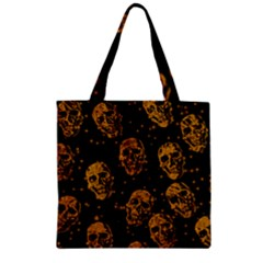 Sparkling Glitter Skulls Golden Zipper Grocery Tote Bag by ImpressiveMoments