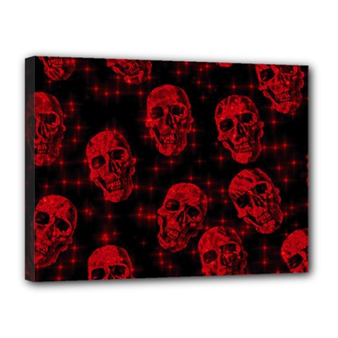 Sparkling Glitter Skulls Red Canvas 16  X 12  by ImpressiveMoments