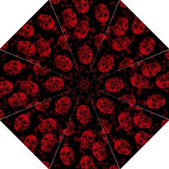 Sparkling Glitter Skulls Red Folding Umbrellas by ImpressiveMoments