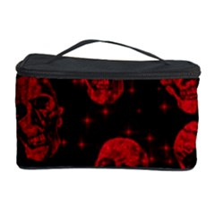 Sparkling Glitter Skulls Red Cosmetic Storage Case by ImpressiveMoments