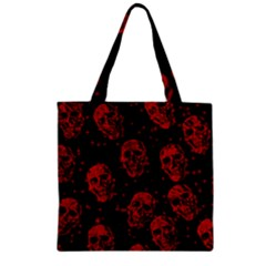 Sparkling Glitter Skulls Red Zipper Grocery Tote Bag by ImpressiveMoments
