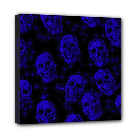 Sparkling Glitter Skulls Blue Mini Canvas 8  X 8  by ImpressiveMoments