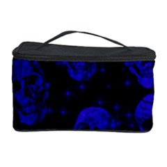 Sparkling Glitter Skulls Blue Cosmetic Storage Case by ImpressiveMoments