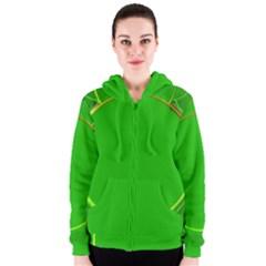 Green Circle Fractal Frame Women s Zipper Hoodie