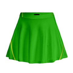 Green Circle Fractal Frame Mini Flare Skirt