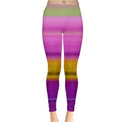 Stripes Colorful Background Colorful Pink Red Purple Green Yellow Striped Wallpaper Leggings  by Simbadda