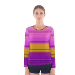 Stripes Colorful Background Colorful Pink Red Purple Green Yellow Striped Wallpaper Women s Long Sleeve Tee by Simbadda