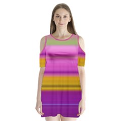 Stripes Colorful Background Colorful Pink Red Purple Green Yellow Striped Wallpaper Shoulder Cutout Velvet  One Piece by Simbadda