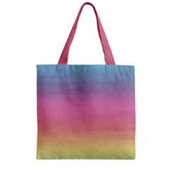Watercolor Paper Rainbow Colors Zipper Grocery Tote Bag by Simbadda
