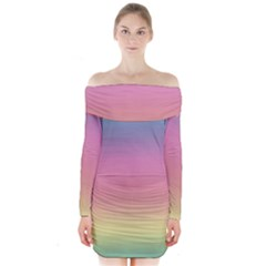 Watercolor Paper Rainbow Colors Long Sleeve Off Shoulder Dress by Simbadda