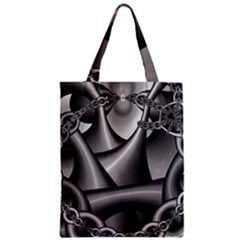 Grey Fractal Background With Chains Zipper Classic Tote Bag by Simbadda