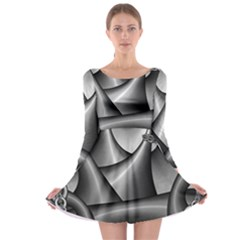 Grey Fractal Background With Chains Long Sleeve Skater Dress