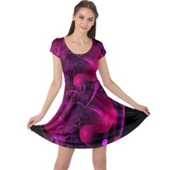 Fractal Using A Script And Coloured In Pink And A Touch Of Blue Cap Sleeve Dresses