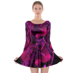 Fractal Using A Script And Coloured In Pink And A Touch Of Blue Long Sleeve Skater Dress