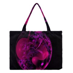 Fractal Using A Script And Coloured In Pink And A Touch Of Blue Medium Tote Bag by Simbadda
