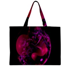 Fractal Using A Script And Coloured In Pink And A Touch Of Blue Medium Zipper Tote Bag by Simbadda