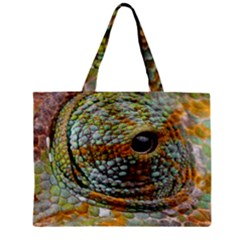 Macro Of The Eye Of A Chameleon Zipper Mini Tote Bag by Simbadda