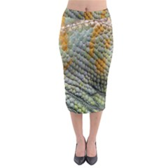 Macro Of Chameleon Skin Texture Background Midi Pencil Skirt by Simbadda