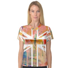 Union Jack Abstract Watercolour Painting Women s V-Neck Sport Mesh Tee