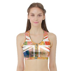 Union Jack Abstract Watercolour Painting Sports Bra With Border by Simbadda