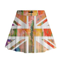 Union Jack Abstract Watercolour Painting Mini Flare Skirt