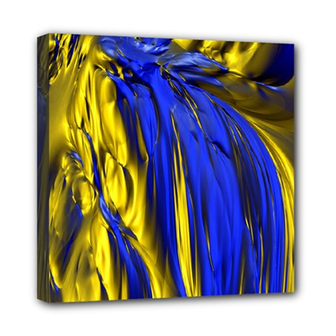Blue And Gold Fractal Lava Mini Canvas 8  X 8  by Simbadda