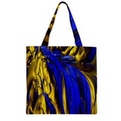Blue And Gold Fractal Lava Zipper Grocery Tote Bag by Simbadda