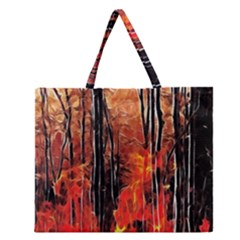Forest Fire Fractal Background Zipper Large Tote Bag by Simbadda