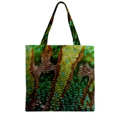 Colorful Chameleon Skin Texture Zipper Grocery Tote Bag
