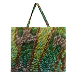 Colorful Chameleon Skin Texture Zipper Large Tote Bag by Simbadda