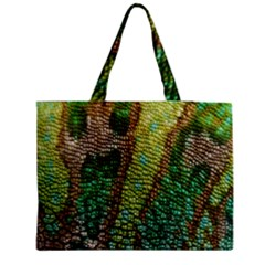 Colorful Chameleon Skin Texture Medium Zipper Tote Bag by Simbadda