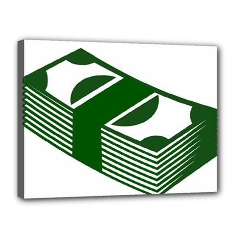 Rich Dollar Money Green Canvas 16  X 12  by Alisyart