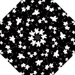 Square Pattern Black Big Flower Floral Pink White Star Straight Umbrellas by Alisyart