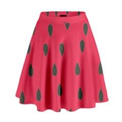 Watermelon Fan Red Green Fruit High Waist Skirt by Alisyart