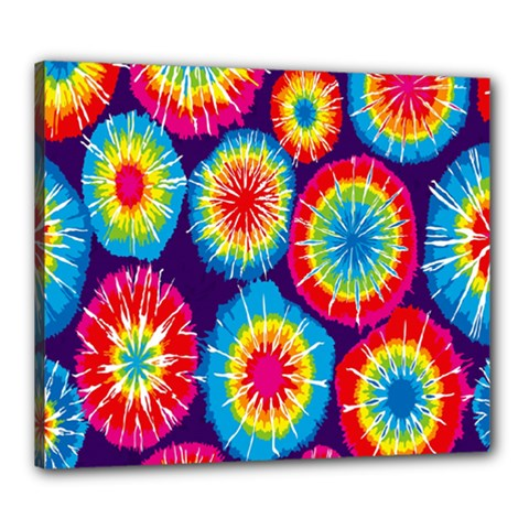 Tie Dye Circle Round Color Rainbow Red Purple Yellow Blue Pink Orange Canvas 24  x 20  by Alisyart