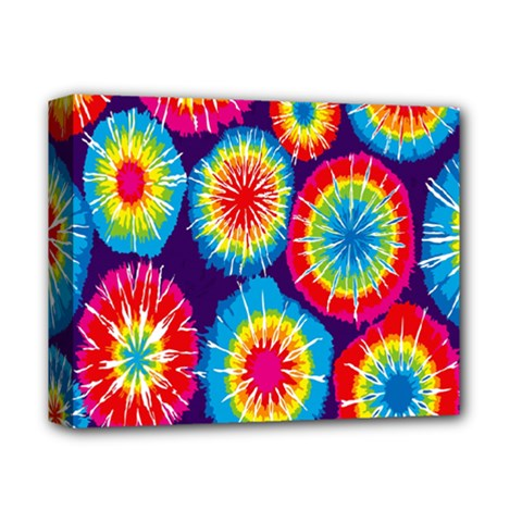 Tie Dye Circle Round Color Rainbow Red Purple Yellow Blue Pink Orange Deluxe Canvas 14  X 11  by Alisyart