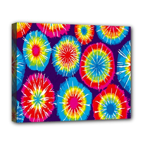 Tie Dye Circle Round Color Rainbow Red Purple Yellow Blue Pink Orange Deluxe Canvas 20  X 16   by Alisyart