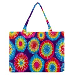 Tie Dye Circle Round Color Rainbow Red Purple Yellow Blue Pink Orange Medium Zipper Tote Bag by Alisyart