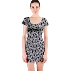 X Ray Rendering Hinges Structure Kinematics Circle Star Black Grey Short Sleeve Bodycon Dress by Alisyart