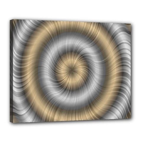 Prismatic Waves Gold Silver Canvas 20  X 16  by Alisyart