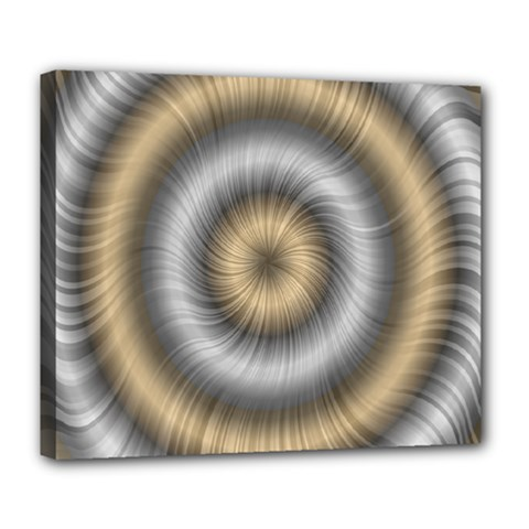 Prismatic Waves Gold Silver Deluxe Canvas 24  X 20   by Alisyart